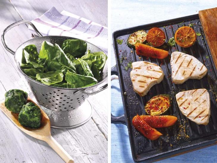 Thunfisch-Steaks mit Blattspinat