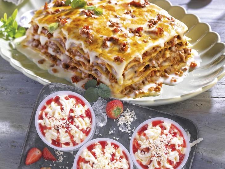 Kombi Lasagne und Spaghetti-Eis