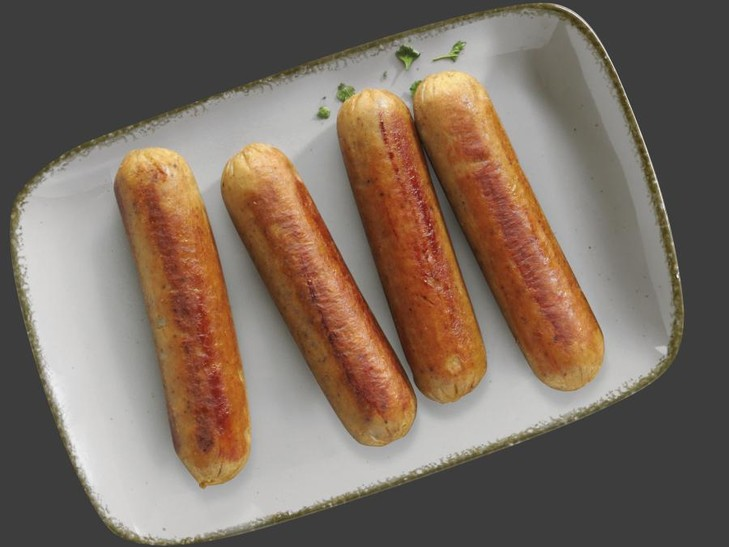 Vegetarische Bratwurst auf Basis von pflanzlichem Eiweiß