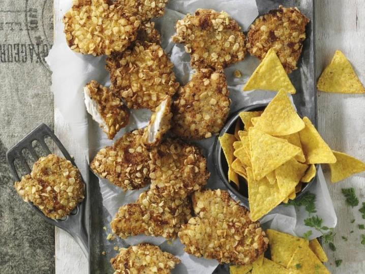 """Mini-Hähnchenschnitzel """"Tortilla Cracker"""" mit 8% Flüssigwürzung"""