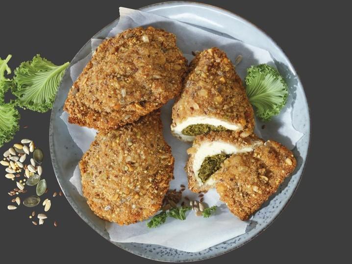 """gefüllte, panierte Hähnchen-Schnitzeltasche """"Grünkohl"""""""
