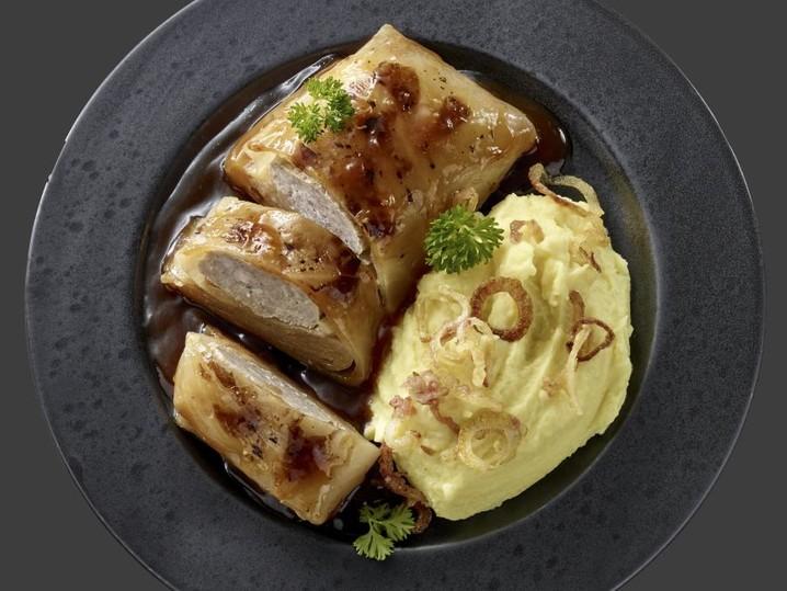 Rustikale Kohlroulade mit Kartoffelpüree